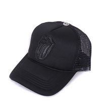 Adjustable size.Color: Black.Front: Black Leather Lips and Tongue. Top: Cross ball. Chrome Hearts Black Leather Lips and Tongue Mesh Cap.Mesh Cap King Brand New Chrome Hearts silver jewelry from LA appeared.At the top is made ??from Silver Cross of drift...