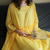 Cotton dresses summer, Loose dress, Plus size clothing, Oversize dress, Summer dress, Cotton Dress, 3/4 Sleeves Tunics, Beach dress