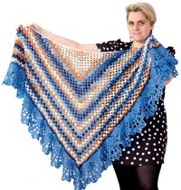 Blue warm crochet shawl as knit gift for mom or wife, oversized knitted fashion for women plus size $65.00