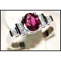 Diamond and Ruby Gemstone 18K White Gold Solitaire Ring [RS0083]