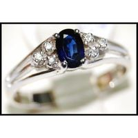 Wedding 18K White Gold Solitaire Diamond Blue Sapphire Ring [RS0013]