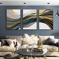 Gold art Framed painting set of 3 wall art sea wave teal blue painting extra large abstract paintings on canvas green original art $163.53