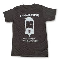 """THIGHBRUSH® - """"If it Tickles Thighs....It Flies!"""" - Men's T-Shirt - Heather Charcoal and Light Grey"""