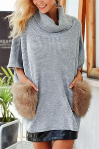 Pavacat Faux Fur Pocket Turtleneck Sweater Cape $46.00