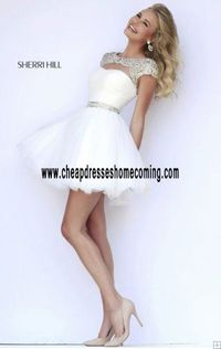 Colorful Fashion Sherri Hill 11191 Scoop-Neck Ivory/Silver Short Ruched Prom Dress 2015