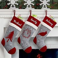 LOVE the colors and design of these personalized Christmas Stockings! The Red and Grey embroidered stockings look so beautiful together! You can choose a wreath stocking, Christmas tree stocking or a cardinal stocking!