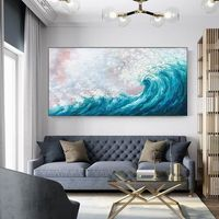 Sea Waves Modern Abstract original oil painting on canvas blue seascape texture agate Wall Art Picture for living room caudros quadros decor $129.00