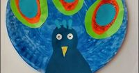 A paper plate peacock/peafowl craft to celebrate India's Republic Day.