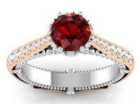 14K Gold 2 Tone Ruby Engagement Ring Milgrain Solitaire Ring 18K Solid Gold Contour Filigree Vintage Style $2230.20