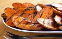 Checkout this easy potatoes recipe for Barbecued Sweet Potatoes at LaaLoosh.com! This tasty, low calorie side dish recipe is a great accompaniment to your summe
