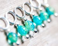 Snag Free Stitch Markers in Speckled Aqua Blue by TheRavelersRoost, $12.00