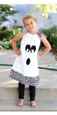 this is THE CUTEST ghost dress! and so easy to make! wear as a costume or just to fun fall parties, etc - on the to-make list!