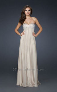 Affordable Sweetheart Strapless Nude Long Prom Dress Sale