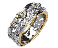 Yellow Sapphire Floral Wedding Band Diamond Silver Edwardian Ring Accent Yellow Sapphires Milgrain Band Flower Band Leaf Ring $369.00