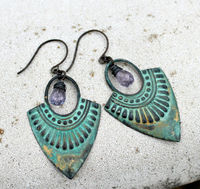 Patina Chandelier Earrings, Bohemian Earrings, Teal Patina Earrings, Mystic Quartz Gemstone, Wire Wrapped, Tribal Earrings