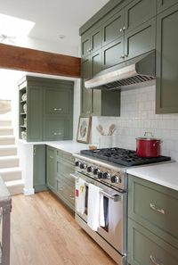 "These lovely olive green cabinets can be found on the television show ""Love It or List It: Vancouver"""