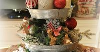 I love adding Holiday decorations to this tiered galvanized tray I got at Sam's Club this summer! It makes a wonderful centerpiece! A wood shape from Michaels,�€�
