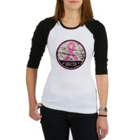 Breast Cancer Survivor shirts, apparel and gifts featuring a pink ribbon in a circular distressed design