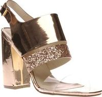Schuh Rose Gold Too Cute Womens High Heels You can never be Too Cute, not when your strutting your stuff in these metallic beauts. Arriving from schuh, this rose gold man-made high heel features a transparent strap and a glitter strap for an u http://www....
