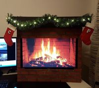 Computer Monitor Fireplace. Because why not.