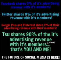 Tsu shares an incredible 90% of it's advertising revenue with it's members