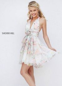 2016 Sherri Hill 50274 Girly Floral Open Back Party Dress