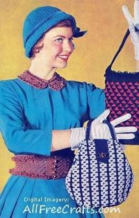 Two color knitted handbag - classic free vintage pattern. Done in Speed Cro-Sheen vintage yarn (or modern Size 3 crochet cotton). http://www.allfreecrafts.com/knitting/vintage/twocolorbag.shtml