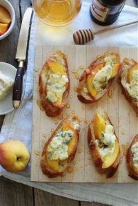 Crostini with Peaches, Blue Cheese and Honey