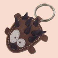 This cute little hedgehog keychain is completely made of 100% natural leather. Hedgehog is filled with cotton wool to get 3D look and soft touch. Dimensions of the keychain are aprox. 4,5 x 6 cm (1.77 x 2.36 in).  https://www.etsy.com/listin...