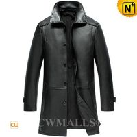 Haute Couture | Mens Black Leather Trench Coat CW808025 | CWMALLS.COM