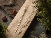Chinese metal silver plated hair stick with smoky quartz, Hair Clip $46.00