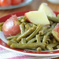 "Country Style Green Beans with Red Potatoes | ""These green beans and potatoes are a spectacular dish."""