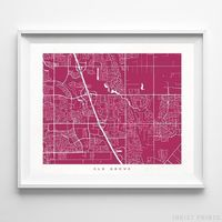 Elk Grove, California Street Map Horizontal Print by Inkist Prints - Available at https://www.inkistprints.com