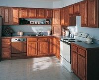 How to Clean Kitchen Cabinets. Equal part vinegar and water in spray bottle. Spray, sit for 10 min, spray again, wipe off w/ soft cloth. Dry w/ separate soft cloth