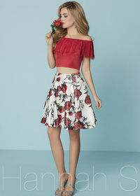 Lovely Red Lace Off The Shoulder Two Piece Rose Printed Homecoming Dress