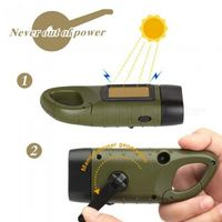 Professional Portable LED Hand Crank Dynamo Solar Power Flashlight Torch for Outdoor Camping Mountaineering Traditional Design Green