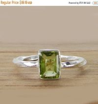 Christmas Sale Green peridot ring, 925 Sterling Silver Twisted Band Ring, Gemstone ring, Birthstone ring, August birthstone, Peridot jewelry $17.28