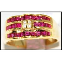18K Yellow Gold Unique Ruby and Diamond Band Ring [R0080]