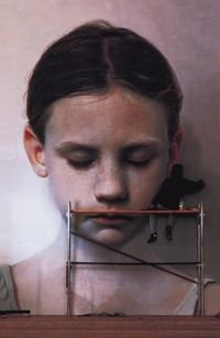 """Gottfried Helnwein working on """"Kindskopf"""" 1991 600 cm x 400 cm oil and acrylic on canvas Minoriten-Church, Krems Museum of Lower Austria Ludwig Collection at the State Russian Museum, St. Petersburg"""