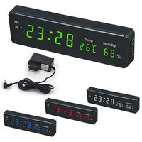 Electronic LED Digital Thermometer Hygrometer Temperature Humidity Display Wall Clock