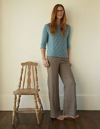 Checkerboard Mesh Pullover by Wendy Bernard Knit in Blue Sky Alpacas Melange yarn, pattern appears in Up, Down, All-Around Stitch Dictionary by Wendy Bernard.