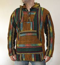 """Baja Hoodie �€"""" Hippie cotton Mexican style pullover - hippie hoodie - Small Size Mexican Style - Small size $55.00"""