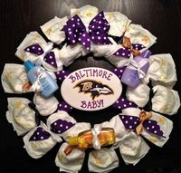 ravens football baby shower theme | Baltimore Ravens DIAPER WREATH Any NFL Team or College Personalized ...