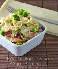 Love the sweet, tangy and salty combo! Broccoli, Bacon and Red Grape Pasta Salad from Hot Eats and Cool Reads