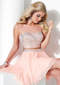 Sparkling Jewel Two Pieces Prom Dresses With Sheer Neckline