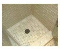 Ceramic Tile Walls, Marble Mosaic Floor & Custom Fabricated Shower Curb