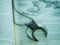 Pendant Crescent Moon magnifying glass, Crescent Moon Pendant, magnifying glass pendant, necklace, lunar necklace, Moon Jewelry boho chic $27.00