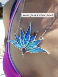 Big Lotus 7 wings, Boho Lotus, Flower Pendant, Mantra Necklace, Blue Lotus Necklace, Stain glass Iridescent necklace. $16.00