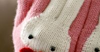 Knitted bunny gloves