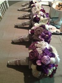 DIY Rose Bouquets for Bridesmaids : wedding bouquet bridesmaids brooch ceremony diy flowers inspiration purple reception ribbon rose silver...